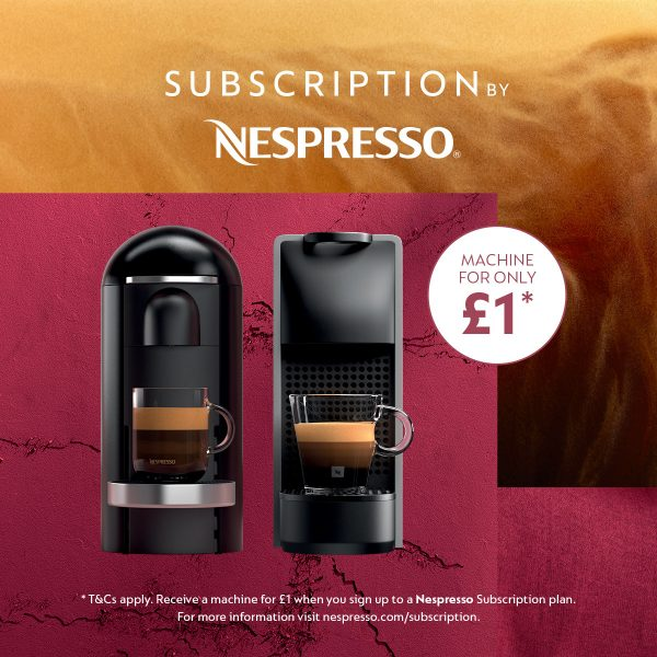 Subscribe to Nespresso and get a coffee machine for £1