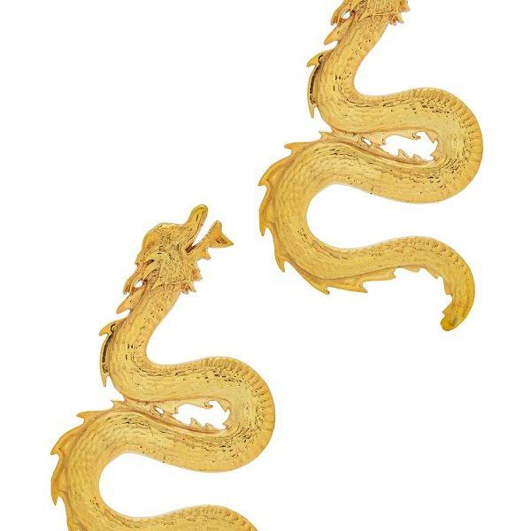 NATIA X LAKO_Large 24kt gold-plated dragon earrings_£180